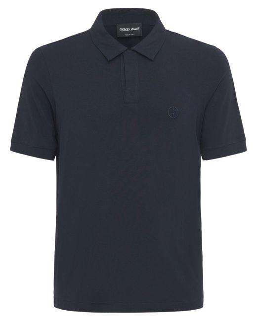 Рубашка Поло С Вышивкой Giorgio Armani для него, цвет: Blue