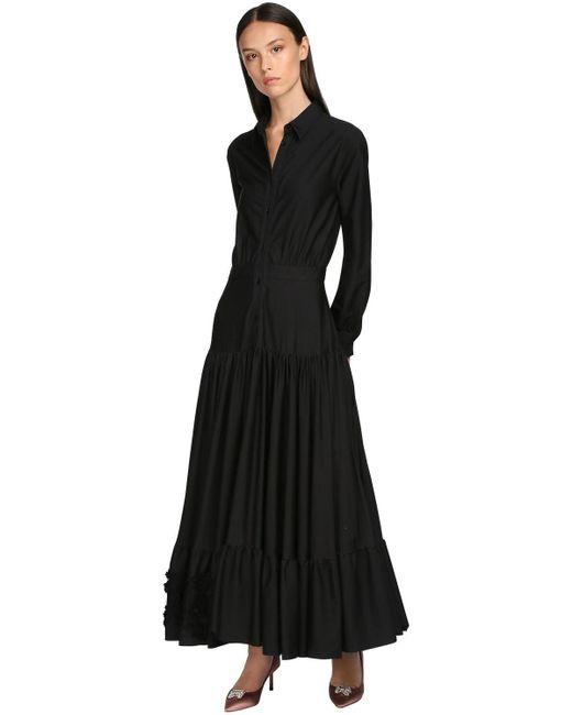 Rochas コットンポプリンシュミーズドレス Black
