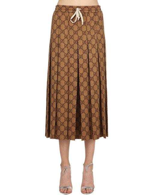 Gg Supreme Плиссированная Юбка С Принтом Gucci, цвет: Brown