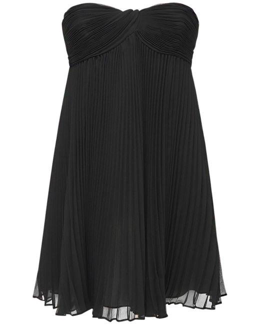 Короткое Платье Из Шелкового Крепа Saint Laurent, цвет: Black