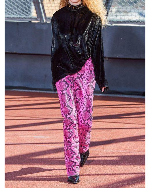 Marques'Almeida レザー スネークプリントブーツカットパンツ Multicolor
