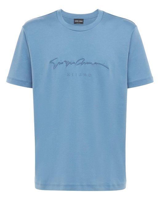 Хлопковая Футболка С Принтом Giorgio Armani для него, цвет: Blue