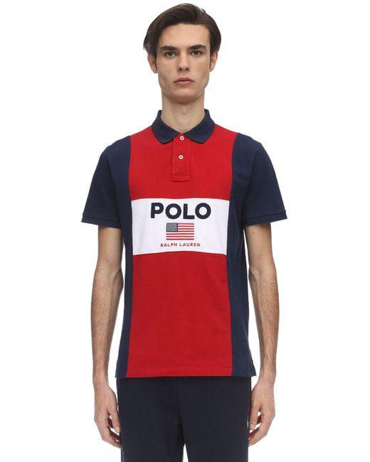 メンズ Polo Ralph Lauren カラーブロックコットンピケポロ Blue