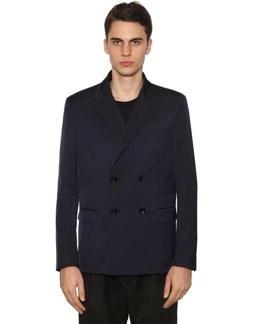 メンズ Valentino ナイロン ダブルブレストジャケット Blue