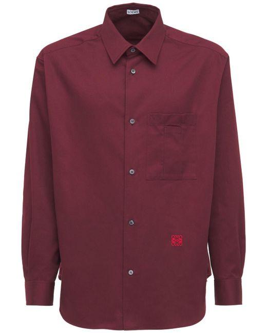 Loewe Hemd Aus Leichtem Baumwolldrillich in Purple für Herren