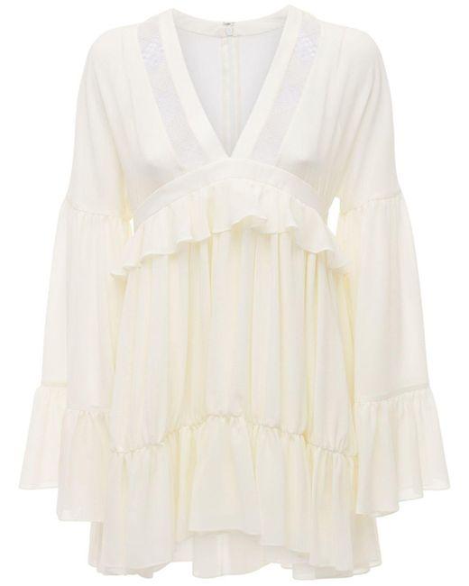 Короткое Платье Из Шелка С Оборками Saint Laurent, цвет: Natural