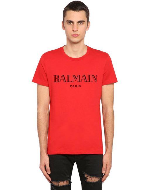 メンズ Balmain フロックドロゴ コットンジャージーtシャツ Red