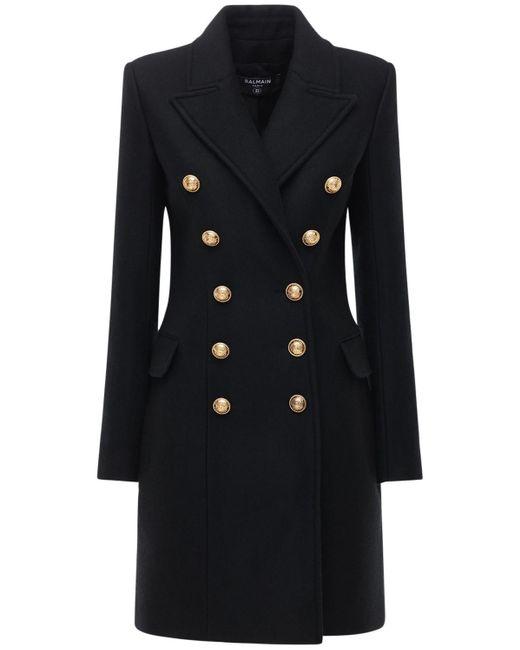 Двубортное Пальто Из Шерсти И Кашемира Balmain, цвет: Black