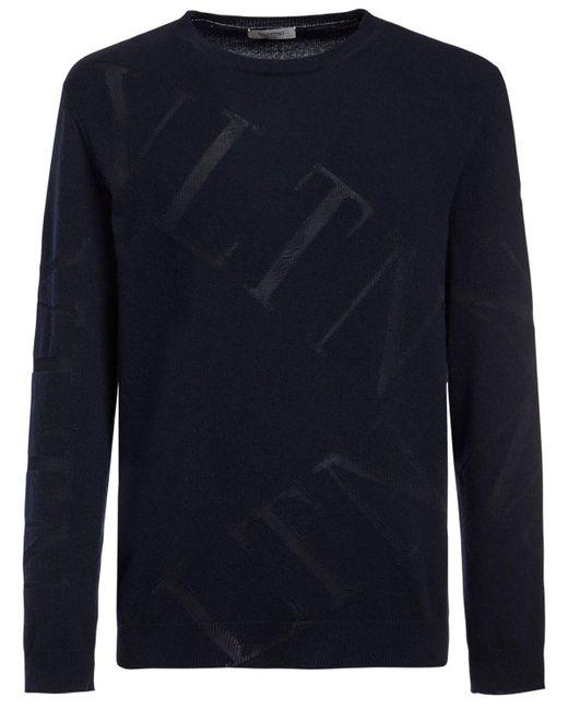 メンズ Valentino ウールブレンドインターシャニットセーター Blue