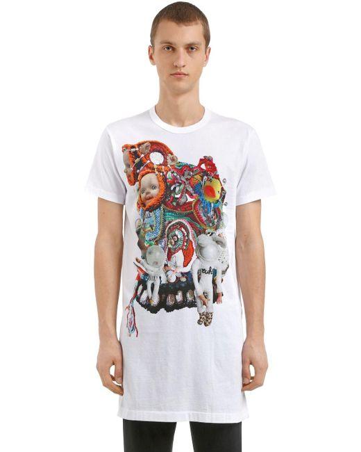 メンズ Comme des Garçons コットンジャージー ロング丈tシャツ White