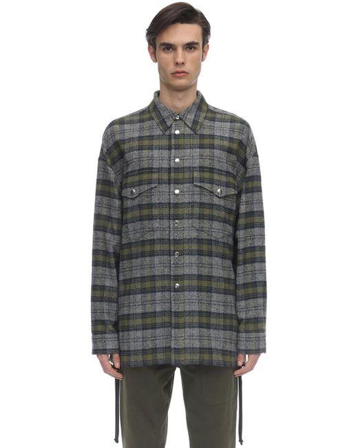 メンズ Faith Connexion コットンツイードシャツジャケット Gray