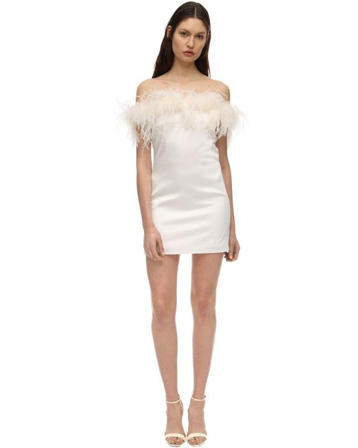Атласное Платье С Перьями Saint Laurent, цвет: White