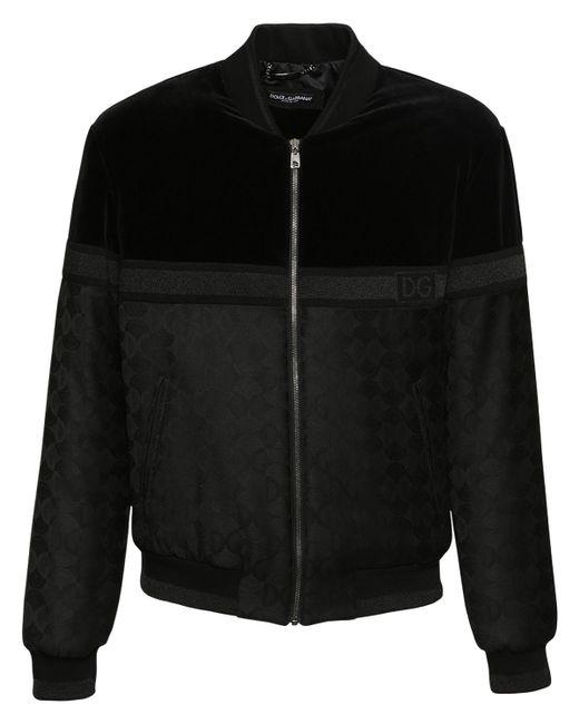 メンズ Dolce & Gabbana Dg ベルベット&ジャカードジャケット Black