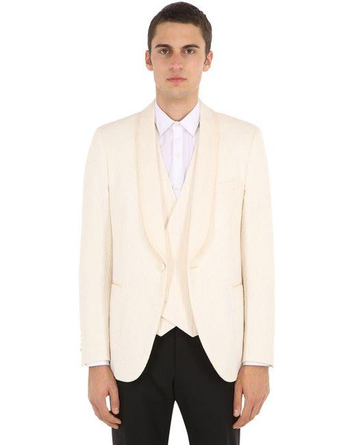 メンズ Lardini コットンブレンドスモーキングジャケット White