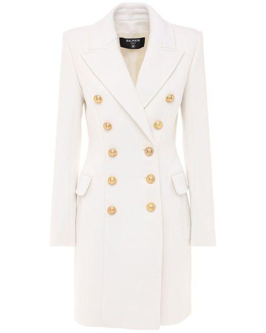 Двубортное Пальто Из Шерсти И Кашемира Balmain, цвет: White