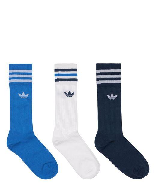 メンズ Adidas Originals コットンソックス 3足パック Blue