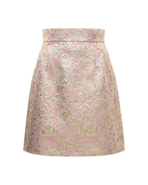 Dolce & Gabbana ジャカードラメミニスカート Pink