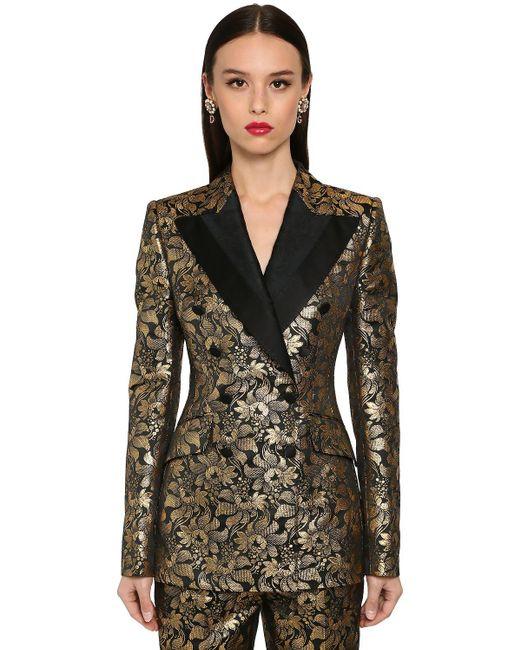 Dolce & Gabbana ダブルブレストラメジャカードジャケット Metallic