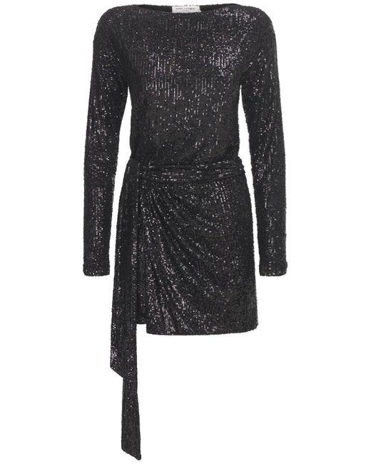 Короткое Платье С Пайетками Saint Laurent, цвет: Black