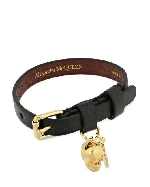 メンズ Alexander McQueen Skull チャームレザーブレスレット Black
