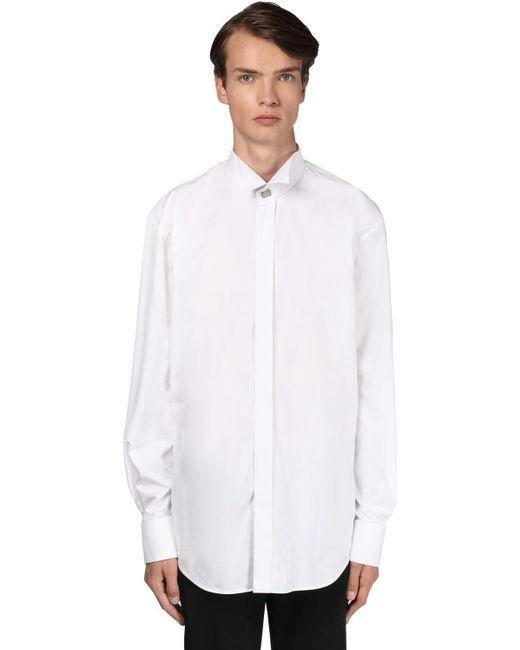 メンズ Balenciaga コットンポプリンシャツ White