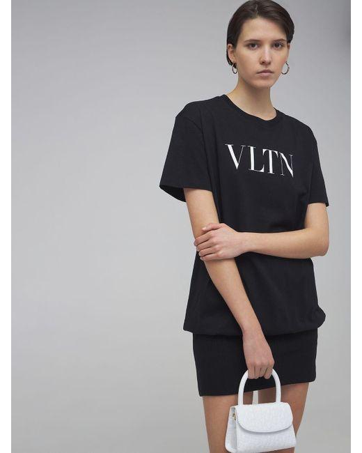 """Vestido Camiseta De Algodón Con Logo """"vltn"""" Valentino de color Black"""