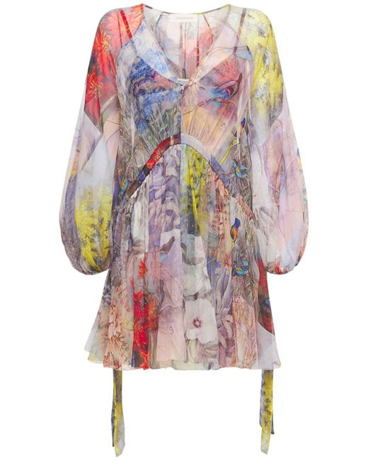 Платье Из Шелкового Шифона Zimmermann, цвет: Multicolor