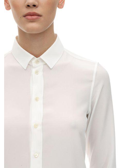 Saint Laurent シルク クレープデシンシャツ White