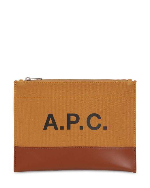 Клатч Из Хлопка И Кожи С Принтом A.P.C., цвет: Brown