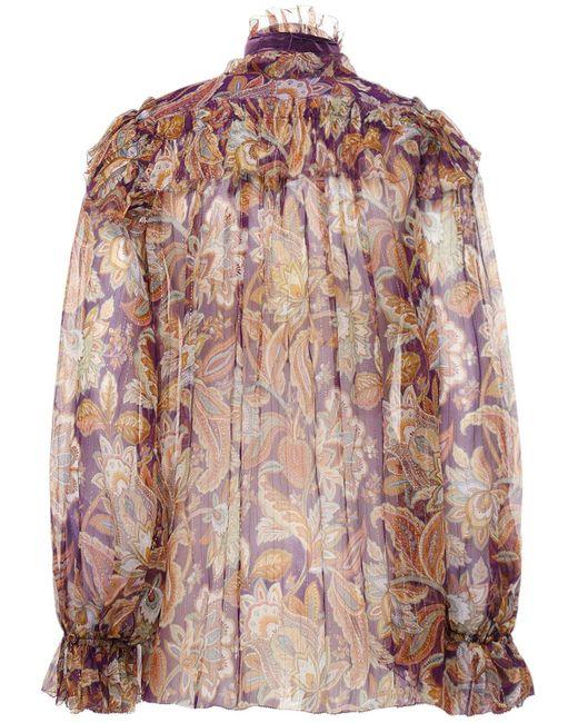 Zimmermann Ladybeetle フリルシルクシャツ Purple
