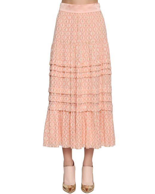 Temperley London ゴールドエンブロイダリー シフォンミディスカート Pink