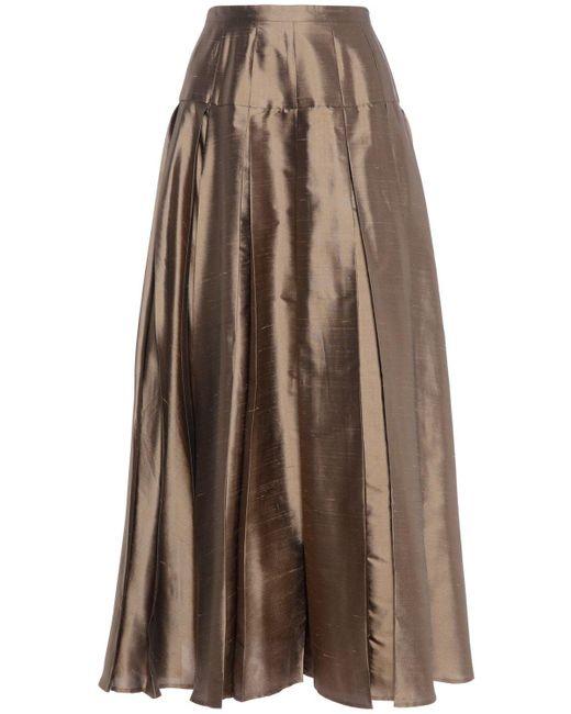 Юбка Миди Из Шёлка Max Mara, цвет: Brown