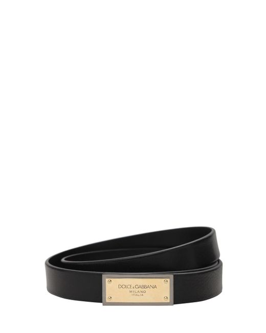 メンズ Dolce & Gabbana バックルレザーベルト 25mm Black