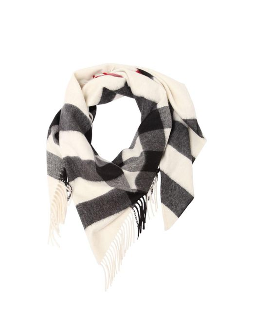 Burberry - White Half Mega Check Cashmere Bandana - Lyst
