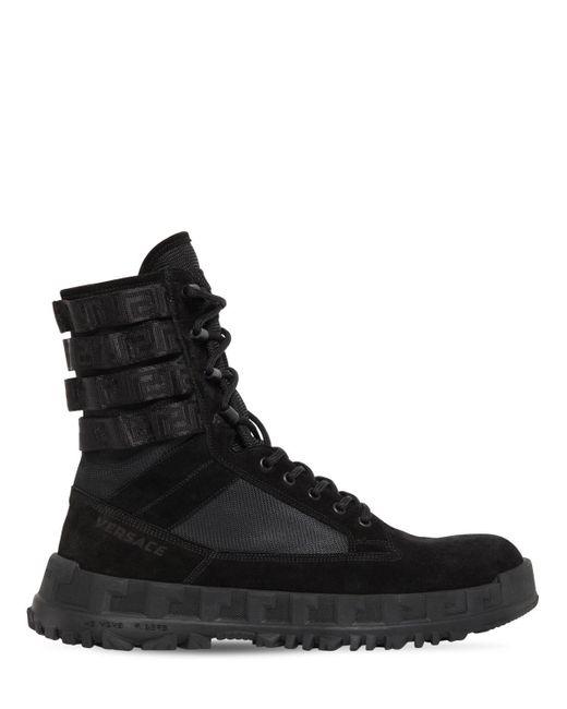 Ботинки Из Кожи На Шнурках 40мм Versace для него, цвет: Black