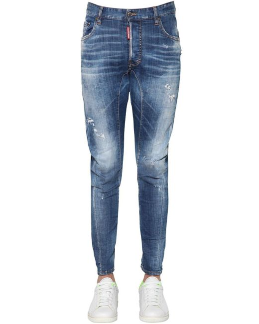 メンズ DSquared² Tidy Biker コットンデニムジーンズ 17cm Blue