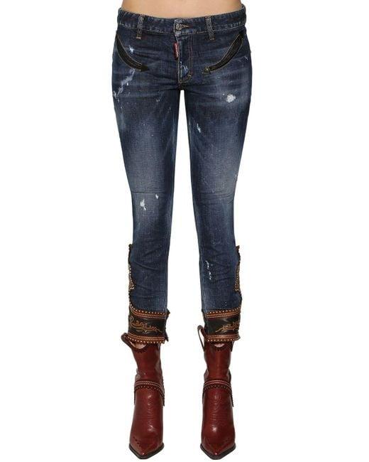 DSquared² Blue Enge Jeans Aus Denim Mit Lederdetails