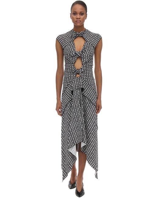 Printed Stretch Viscose Cady Midi Dress Proenza Schouler, цвет: Black