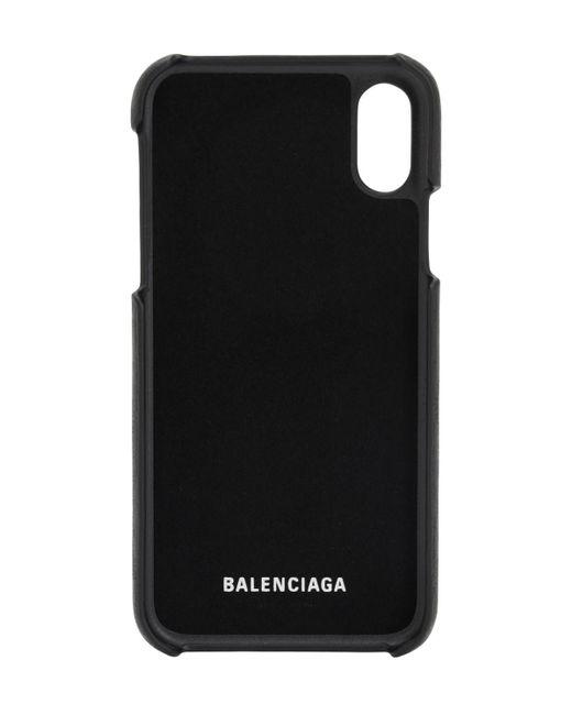 Balenciaga Black Iphone 10-cover Aus Narbleder Mit Logo