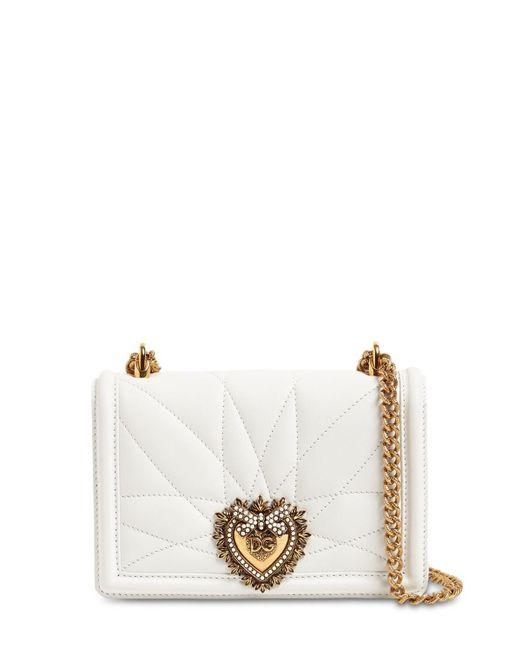 Dolce & Gabbana Devotion レザーショルダーバッグ White