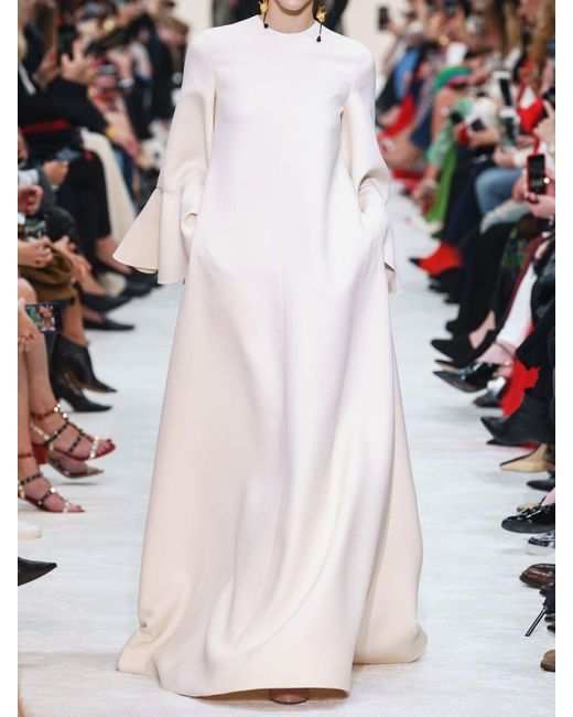 Valentino クレープ フリルスリーブロングドレス White