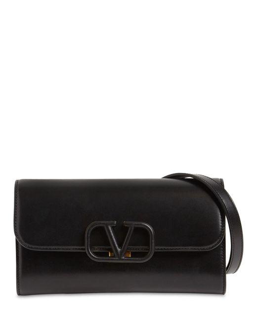 Valentino Garavani Black Vsling Leather Clutch