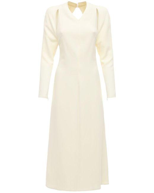 Victoria Beckham White Fluid Cady Midi Dress W/back Cut Out