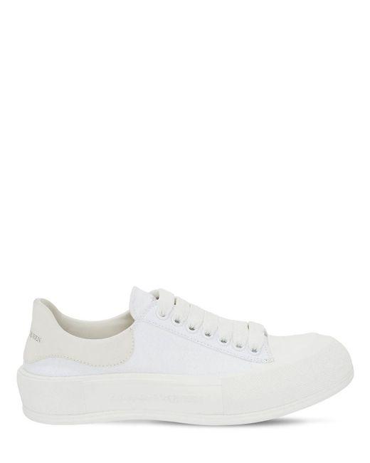 Кроссовки Из Замши И Парусины 45mm Alexander McQueen, цвет: White