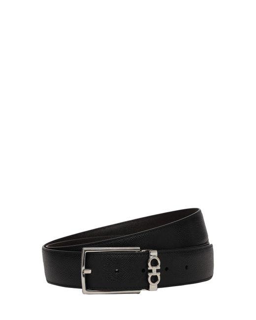 Двухсторонний Кожаный Ремень 3.5cm Ferragamo для него, цвет: Black