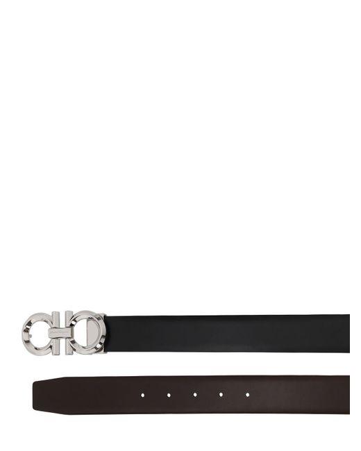 メンズ Ferragamo Diamond リバーシブルレザーベルト 35mm Black
