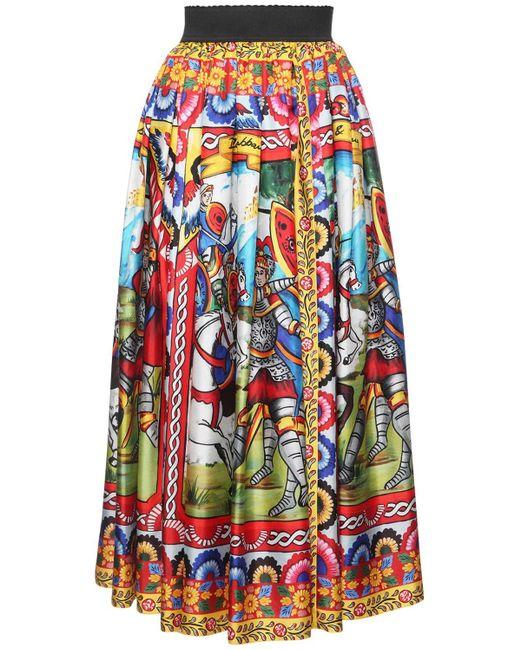 Юбка Из Шелковой Саржи С Принтом Dolce & Gabbana, цвет: Multicolor