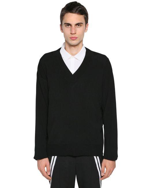 メンズ Neil Barrett ナイロン&ビスコースセーター Black