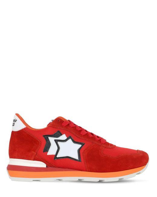 メンズ Atlantic Stars Antares スエード&ナイロン ランニングスニーカー Red