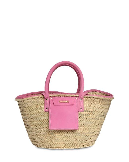 Jacquemus Le Panier Soleil ストロー&レザーバッグ Pink